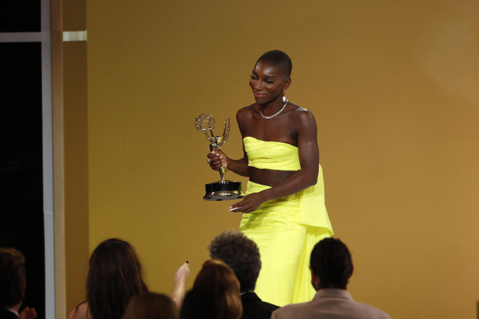 LOS ANGELES - SEPTEMBER 19: Michaela Coel from 'I May Destroy You' appears at the 73RD EMMY AWARDS, broadcast Sunday, Sept. 19 (8:00-11:00 PM, live ET/5:00-8:00 PM, live PT) on the CBS Television Network and available to stream live and on demand on Paramount+. (Photo by Cliff Lipson/CBS via Getty Images)