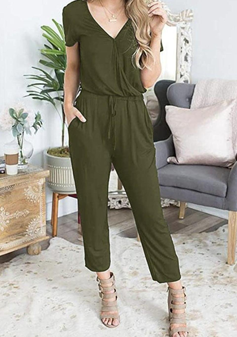 <p>This <span>Pretty Garden V-Neck Short Sleeve Jumpsuit</span> ($24) is designed for a relaxed fit, but you'll still look put-together whether you wear it out to a work happy hour, to lounge around the apartment or to take Zoom calls at home. It also features pockets for extra convenience.</p>