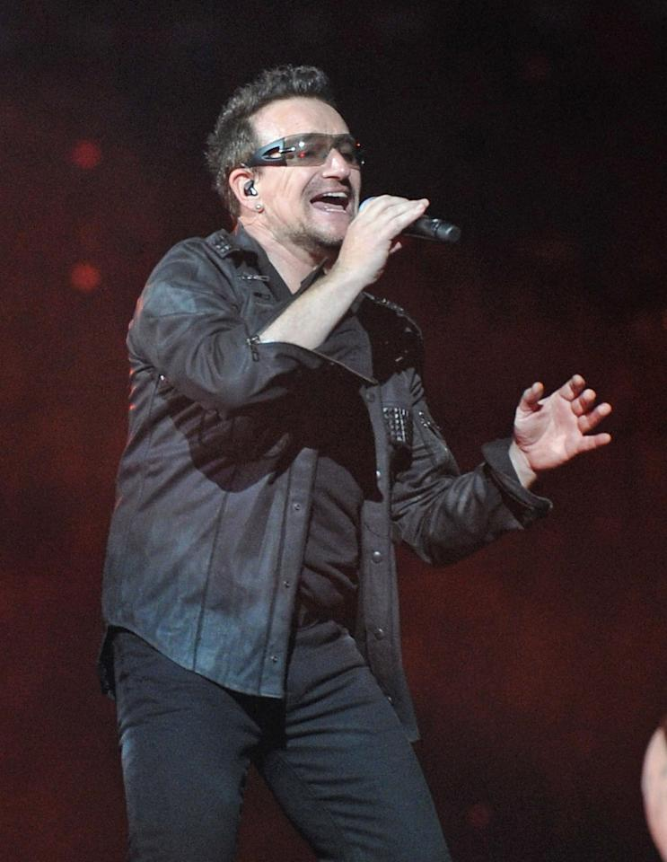 Bono of U2<br><br>Real name: Paul David Hewson<br><br>(Photo by Mike Coppola/Getty Images)