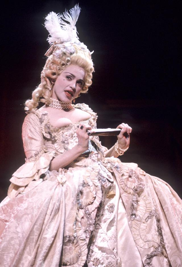 <p>Channelling Marie Antoinette while performing her massive hit 'Vogue' on the MTV Video Music Awards, this costume was reportedly worn by Glenn Close during the 'Dangerous Liasons' film. <em>[Photo: Getty]</em> </p>