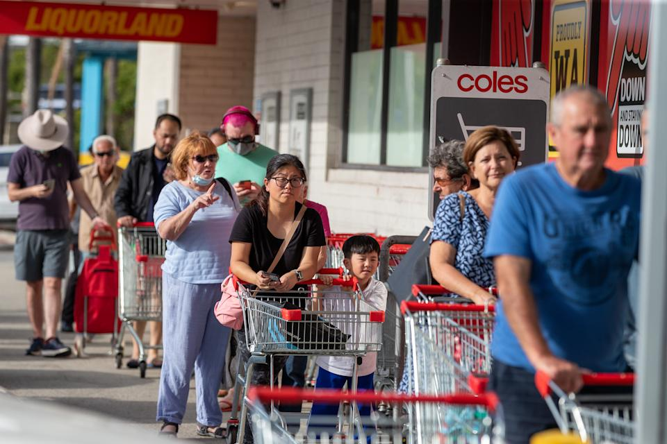 Shoppers line up at Coles Maylands in Perth on March 23, 2021 before the city went into Covid lockdown.