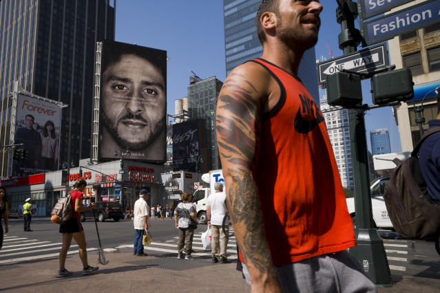 Nike is putting Colin Kaepernick front and center in its latest ad campaign. (AP)