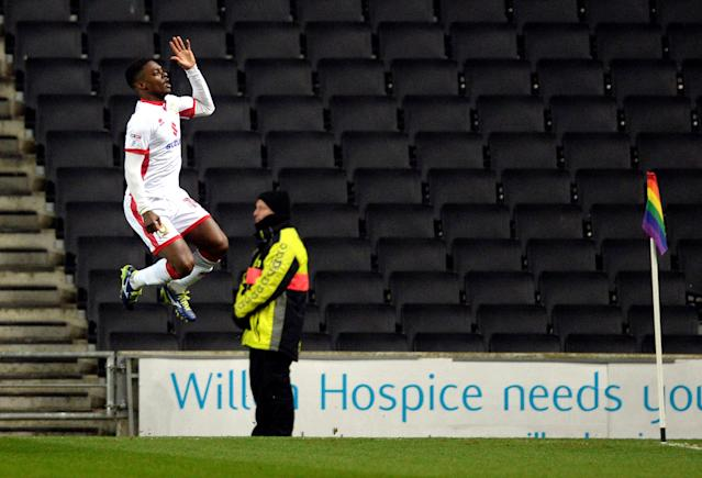 Soccer Football - FA Cup Second Round - Milton Keynes Dons vs Maidstone United - Stadium MK, Milton Keynes, Britain - December 2, 2017 MK Dons' Kieran Agard celebrates scoring their second goal Action Images/Adam Holt