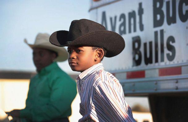 PHOTO: Carson Avant sits on his horse before the start of competition at the Bill Pickett Invitational Rodeo on April 1, 2017 in Memphis, Tenn. The Bill Pickett Rodeo is the nation's only touring black rodeo competition. (Scott Olson/Getty Images, FILE)