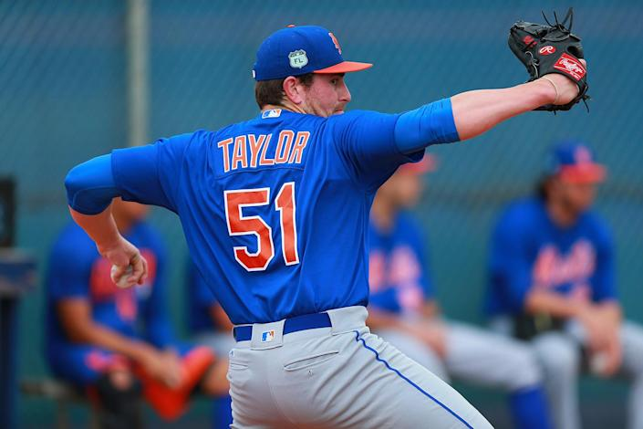 <p>New York Mets pitcher Blake Taylor throws during a bullpen session at the Mets spring training facility at First Data Field in Port St. Lucie, Fla., Tuesday, Feb. 28, 2017. (Gordon Donovan/Yahoo Sports) </p>