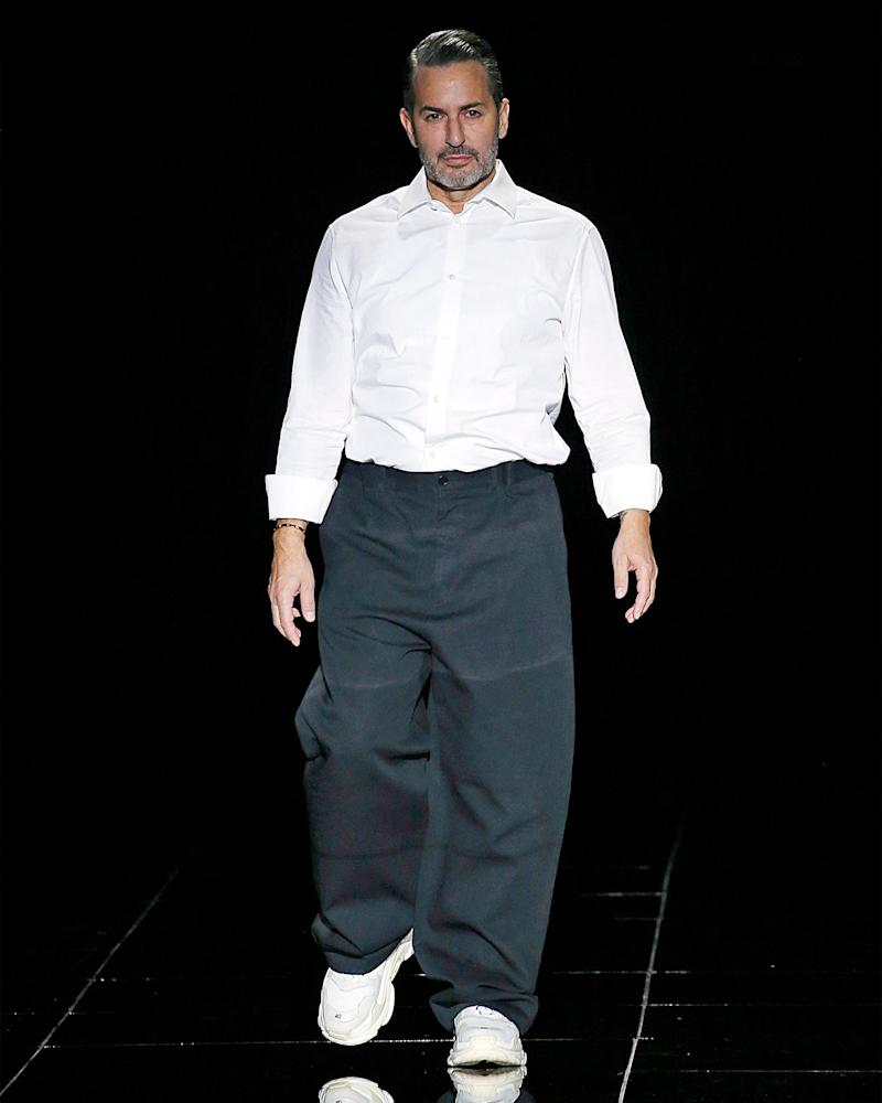 Marc Jacobs in the second of two massive fits—one before and one after his FW19 fashion show.
