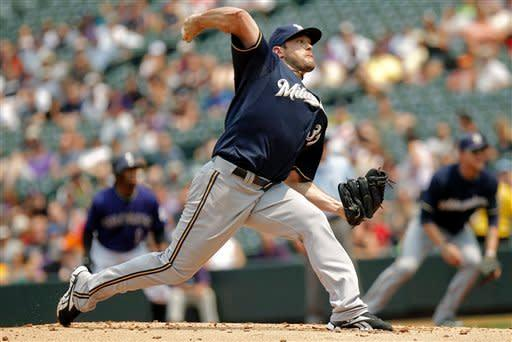 Milwaukee Brewers starting pitcher Mark Rogers (37) delivers against Colorado Rockies' Eric Young Jr., during the first inning of a baseball game, Wednesday, Aug. 15, 2012, in Denver. (AP Photo/Barry Gutierrez)