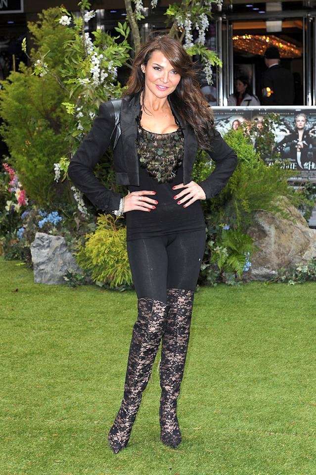 """Lizzie Cundy attends the London premiere of """"Snow White and the Huntsman"""" on May 14, 2012."""