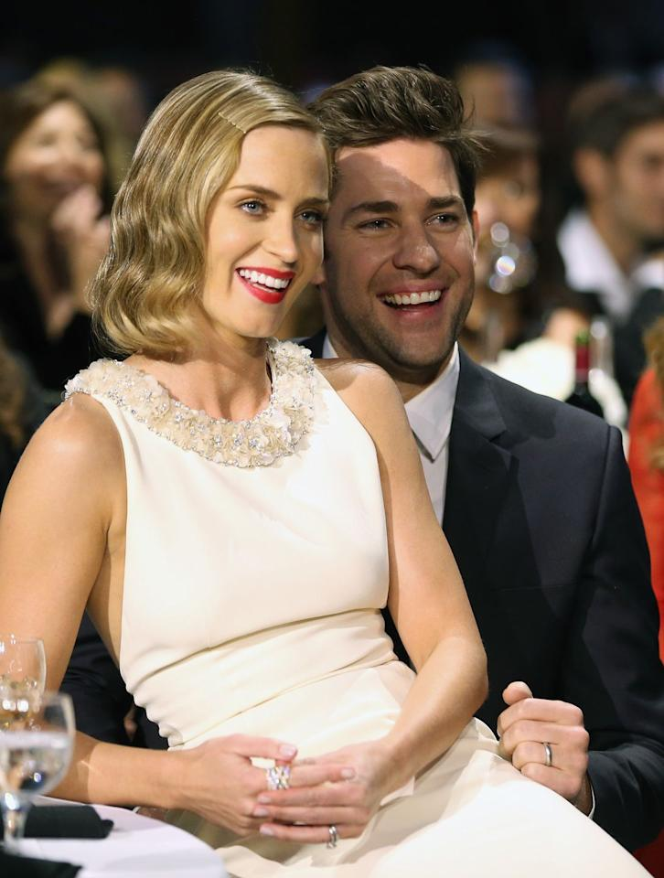 "<p>These two would basically be your favorite funny couple to hang out with. Have you seen the video of them <a rel=""nofollow"" href=""https://www.elle.com/culture/celebrities/news/a19673/jimmy-kimmel-emily-blunt-john-krasinski-holiday-prank/"">pranking Jimmy Kimmel</a>? The most fun.</p>"