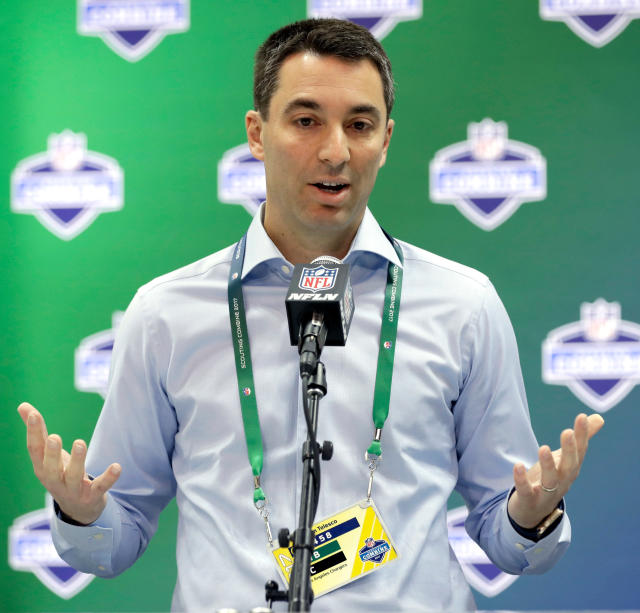 FILE - In this March 2, 2017, file photo,Los Angeles Chargers general manager Tom Telesco speaks during a news conference at the NFL football scouting combine, in Indianapolis. Already one of the most prolific passers in NFL history, Chargers quarterback Philip Rivers said last week he is nowhere near retirement and intends to play a handful more years. That hasnt stopped the football world from wondering whether Telesco will decide that this is the year to grab his next quarterback when he makes the 17th overall pick on Thursday night. (AP Photo/David J. Phillip, File)