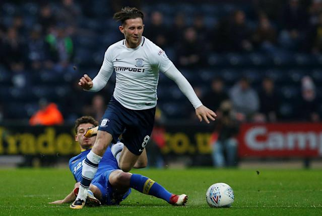 "Soccer Football - Championship - Preston North End vs Leeds United - Deepdale, Preston, Britain - April 10, 2018 Leeds United's Kalvin Phillips in action with Preston North End's Alan Browne Action Images/Craig Brough EDITORIAL USE ONLY. No use with unauthorized audio, video, data, fixture lists, club/league logos or ""live"" services. Online in-match use limited to 75 images, no video emulation. No use in betting, games or single club/league/player publications. Please contact your account representative for further details."