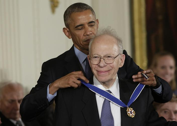 <p>President Obama presents the Presidential Medal of Freedom to physicist Richard Garvin during a ceremony in the White House East Room, Nov. 22, 2016. (Yuri Gripas/Reuters) </p>