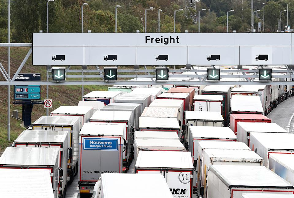 A view of lorries queuing for Eurotunnel in Folkestone, Kent, as the government develops the 27-acre site near Ashford into a post-Brexit lorry park as it gears up to leave the EU at the end of the year. (Photo by Gareth Fuller/PA Images via Getty Images)