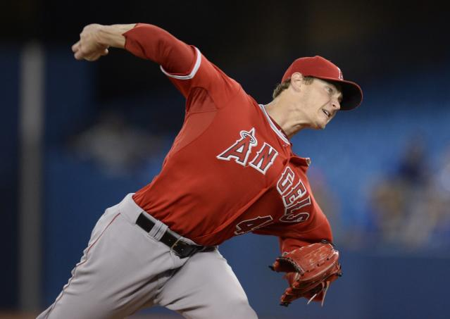 Los Angeles Angels starting pitcher Garrett Richards throws against the Toronto Blue Jays during the first inning of a baseball game in Toronto on Friday, May 9, 2014. (AP Photo/The Canadian Press, Frank Gunn)