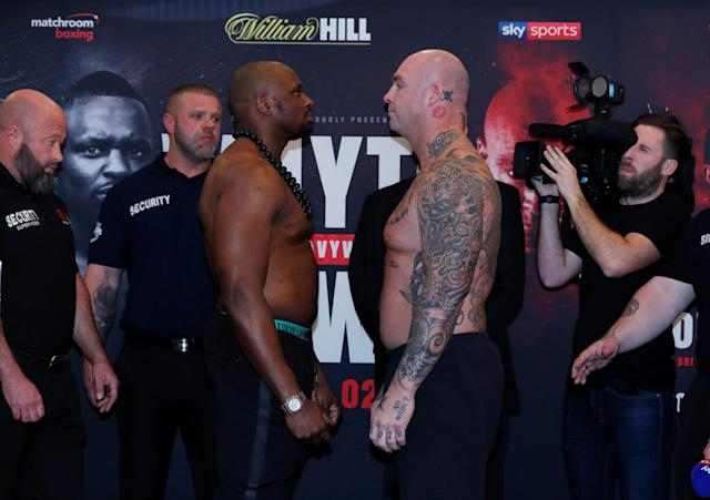 Boxing - Dillian Whyte and Lucas Browne - Weigh-in - Courthouse Hotel, London, Britain - March 23, 2018 Dillian Whyte and Lucas Browne go head to head during the weigh in Action Images via Reuters/Andrew Couldridge