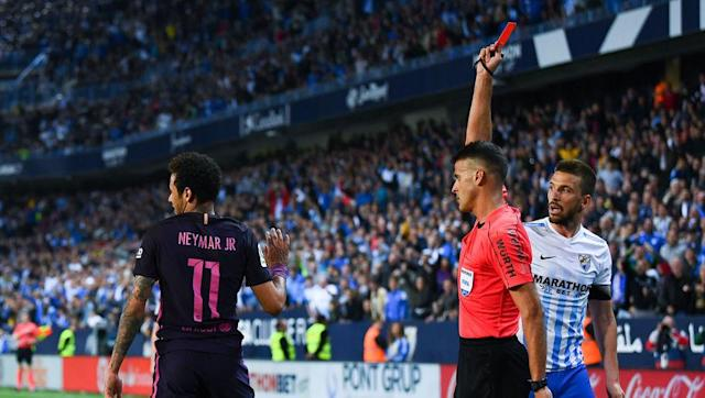 <p>Sent off during Barcelona's absolute trainwreck against bogey side Malaga (2-0), Neymar Jr. is risking a lot because of the attitude he got towards the fourth official while he was going out of the pitch. </p> <br><p>For obviously mocking the referee, Neymar risks a two-game ban and should miss <em>El Clasico </em>in two weeks. </p> <br><p>With Barcelona already dropping crucial points in the title race, losing their best player this season could be a huge liability when the moment comes to play this Clasico that should give us the name of this season's champion. </p> <br><p>A silly situation for the Brazilian, but a pretty amazing stat that came out of it: since 2009, Neymar was booked 131 times and sent off on seven occasions... which is (amazingly) more than Real Madrid's defender Pepe!</p>