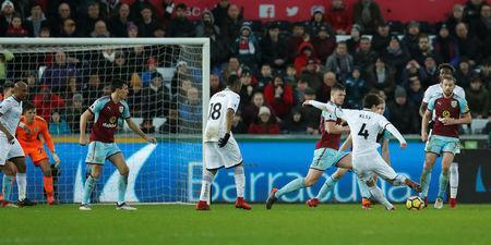 Soccer Football - Premier League - Swansea City vs Burnley - Liberty Stadium, Swansea, Britain - February 10, 2018 Swansea City's Ki Sung Yueng scores their first goal Action Images via Reuters/Andrew Boyers