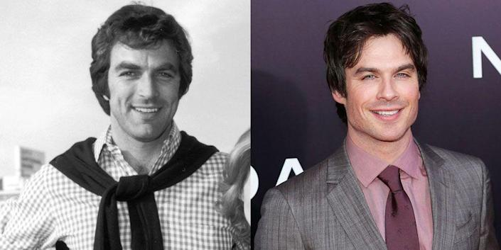 <p>A pre-mustache Tom Selleck reminds us a lot of <em>The Vampire Diaries </em>star Ian Somerhalder. Maybe Ian should give a 'stache a go?</p>