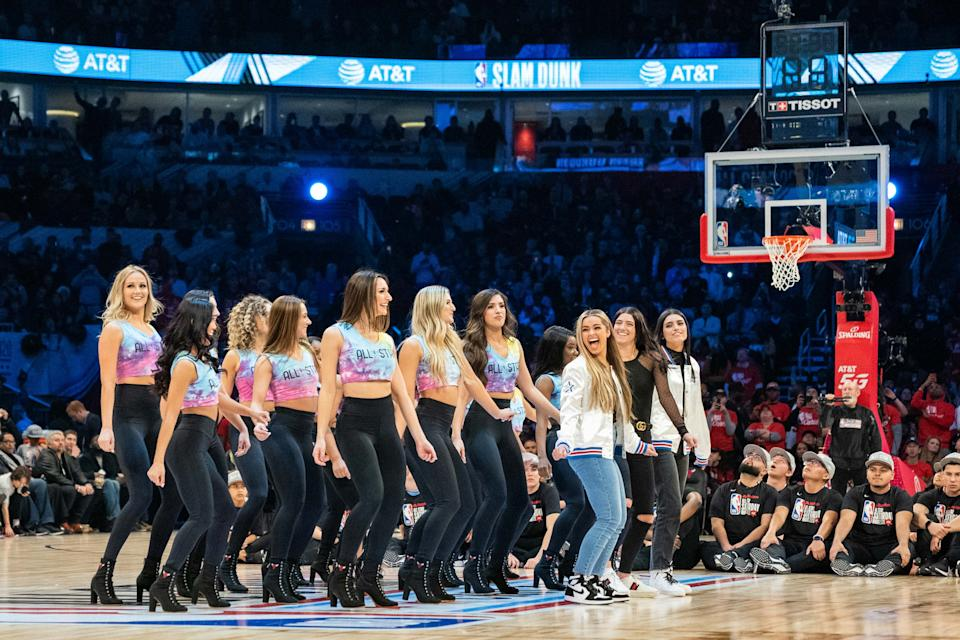 TikTok social media personalities Addison Rae, Charli D'Amelio and Dixie D'Amelio performed with the Chicago Bulls dance team Luvabulls in February. Many Black dance creators, meanwhile, have called out white influencers as appropriating Black culture. (Photo: Kyle Terada-USA TODAY Sports)