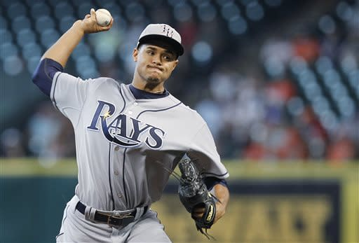 Tampa Bay Rays starting pitcher Chris Archer throws during the first inning of a baseball game against the Houston Astros on Thursday, July 4, 2013, in Houston. (AP Photo/Patric Schneider)