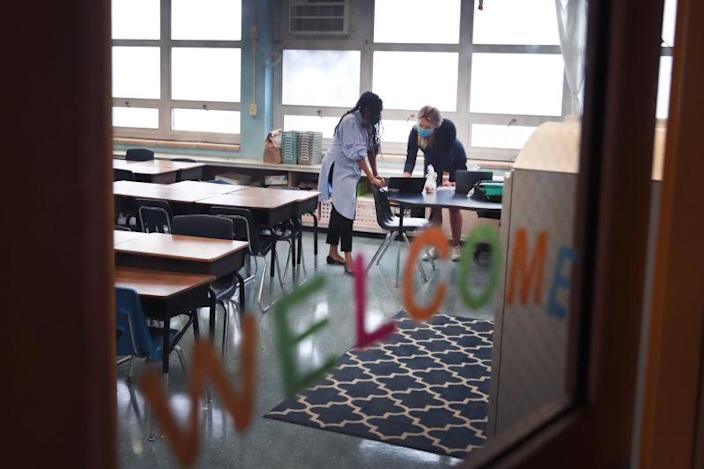Teachers at King Elementary School, prepare to teach their students remotely in empty classrooms during the first day of classes on September 08, 2020 in Chicago, Illinois.