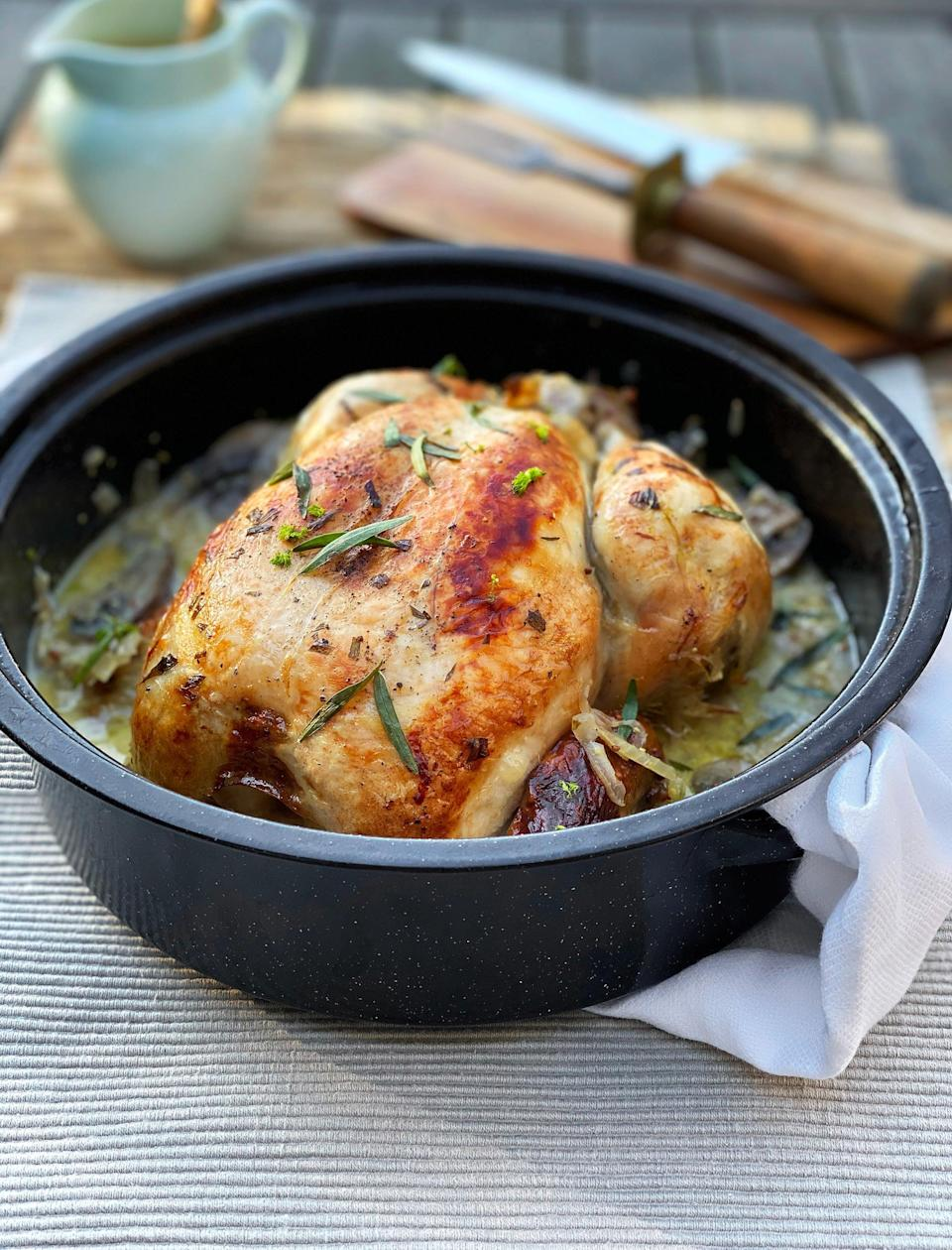 "<strong>Tarragon, Fennel And Cider One-Pot Chicken<br></strong> <br><em>Serves 4-6</em><br><br><strong>Ingredients</strong><br>knob of butter<br>1 tbsp olive oil, plus more for oiling<br>2 garlic cloves, crushed<br>1 fennel bulb, cored, halved and finely sliced, trimmings saved<br>1 Spanish onion, finely sliced<br>300g mushrooms (any type), thickly sliced<br>1 tbsp chopped tarragon leaves, plus extra to serve<br>330ml cider<br>1.6–1.8kg (large) chicken<br>2 tbsp wholegrain mustard<br>4 tbsp single cream<br>salt and black pepper to season<br><br><strong>Instructions</strong><br>1. Preheat the oven to 180°C/160°C fan/ Gas mark 4.<br>2. Heat the butter and oil together in a flameproof casserole. Add the garlic, fennel, onion, mushrooms and chopped tarragon. Cook for 10–12 minutes until the vegetables have softened. Pour in the cider and bring to the boil.<br>3. Oil the chicken and season well with salt and pepper. Place the chicken on top of the vegetables and roast, covered, for 45 minutes. Remove the lid, baste and roast uncovered for a further 25–35 minutes, basting occasionally, until the skin is crispy and the chicken is cooked through.<br>4. Remove the chicken from the casserole and keep warm.<br>5. Put the casserole on the hob and bring the liquid to the boil. Cook for 8–10 minutes until reduced by half, then turn the heat right down and add the mustard and cream and gently warm without boiling. Taste the sauce and add more seasoning if needed. Pour the sauce with all its bits into a jug, sprinkle the chicken with extra tarragon leaves and serve.<br><br><strong>Leftovers</strong><br>If any meat is left on the chicken, strip it from the bones and place in an airtight container with leftover sauce. This will keep in the fridge for 2 days. Reheat it gently until piping hot (but without boiling) and serve with couscous or rice. You can repurpose the leftover chicken carcass to make a delicious stock.<span class=""copyright"">Photo Courtesy of The Batch Cook Book.</span>"