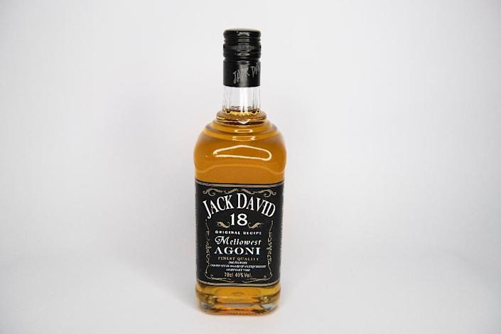 The alcohol section offers bottles of not-quite Jack Daniel's whiskey (AFP Photo/FRED DUFOUR)