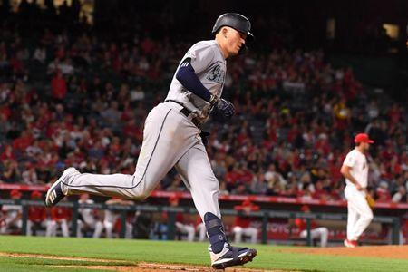 Apr 18, 2019; Anaheim, CA, USA; Seattle Mariners first baseman Ryon Healy (27) rounds the bases after his second home run of the night in the sixth inning of the game against the Los Angeles Angels at Angel Stadium of Anaheim. Mandatory Credit: Jayne Kamin-Oncea-USA TODAY Sports