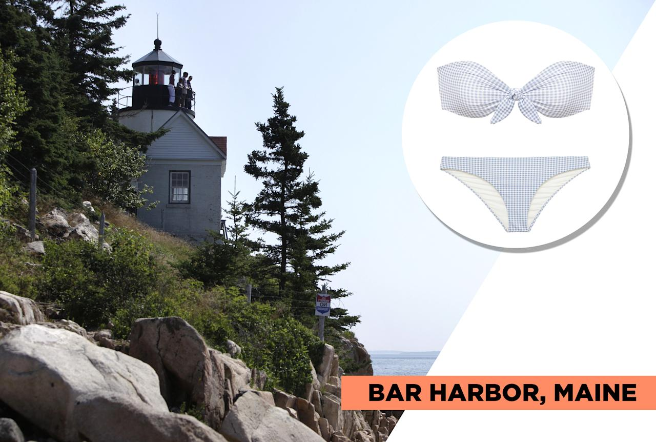 "<p>At Bar Harbor's Acadia National Park, you'll have access to water activities like sailing, kayaking, whale watching, and paddleboarding, but you'll also be able to hike and bike alongside the beautiful rocky shoreline. During the 19th century, Bar Harbor was the go-to vacation spot for high-society. Eberjey's classic gingham print pairs well with Bar Harbor's rich history. (Photo: Getty Images, Art: Quinn Lemmers for Yahoo Lifestyle)<br /><br />Eberjey — Betty Lola Bikini Top, $94, <a rel=""nofollow"" href=""https://www.eberjey.com/swim/bikini-tops/betty-lola-bikini-top.html"">eberjey.com</a><br /> Eberjey — Betty Annia Bikini Bottom, $75, <a rel=""nofollow"" href=""https://www.eberjey.com/betty-annia-bikini-bottom.html"">eberjey.com</a> </p>"