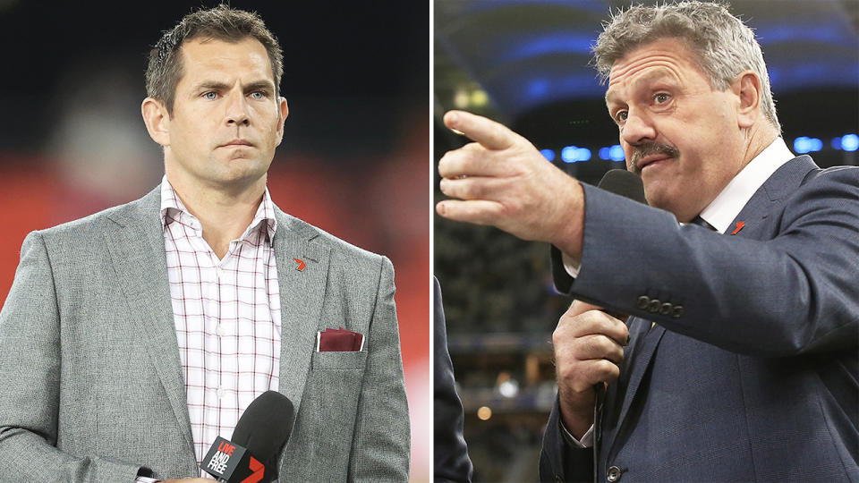 Luke Hodge (pictured left) during commentary and Channel 7 commentator Brian Taylor (pictured right) pointing.