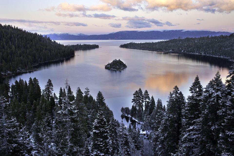 <p>Not sure where to go in Lake Tahoe? Start in South Lake Tahoe and drive your way around the 72 mile lake loop (that covers parts of Nevada and California), stopping in places like Truckee (a historic railroad town), Squaw Valley (site of the 1960 Winter Olympics) or Emerald Bay (pictured) and take a hike to Vikingsholm Castle. </p>