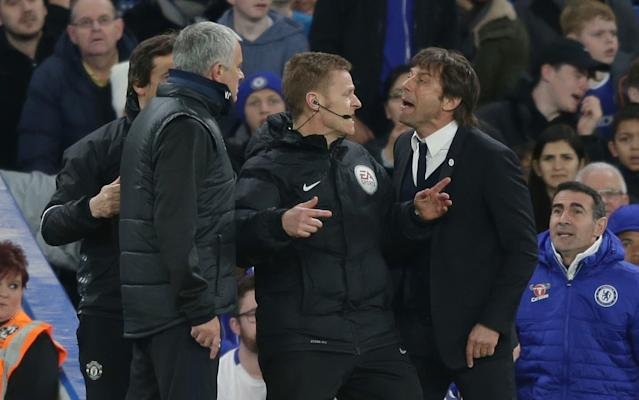 Jose Mourinho and Chelsea manager Antonio Conte go head to head at Stamford Bridge earlier in the season - Rex Features