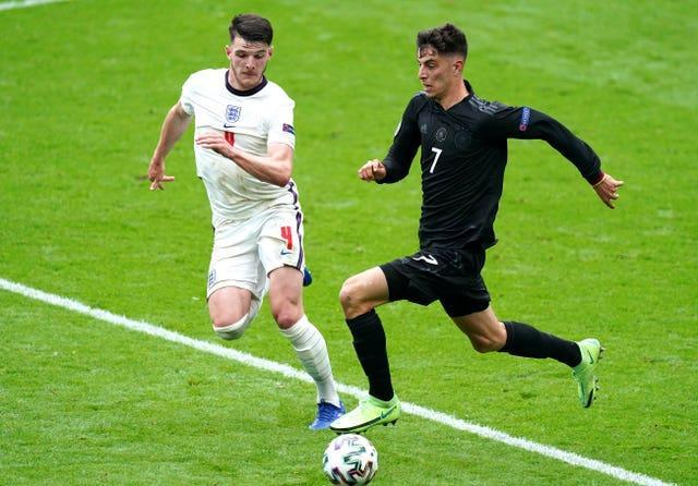 Declan Rice (left) helped England to victory over Germany in the last-16.