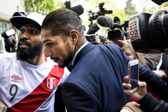 Peru captain Paolo Guerrero at an appeal hearing in early May. (AP)