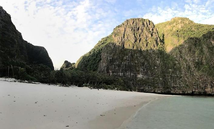 Thai authorities distributed pictures six months after Maya Bay's closure showing a vast improvement to the ecology (AFP Photo/Handout)
