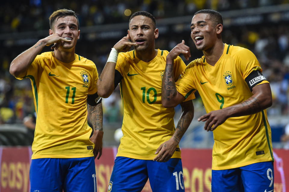 Philippe Coutinho, Neymar and Gabriel Jesus lead a fearsome Brazil attack into the 2018 World Cup. (Getty)