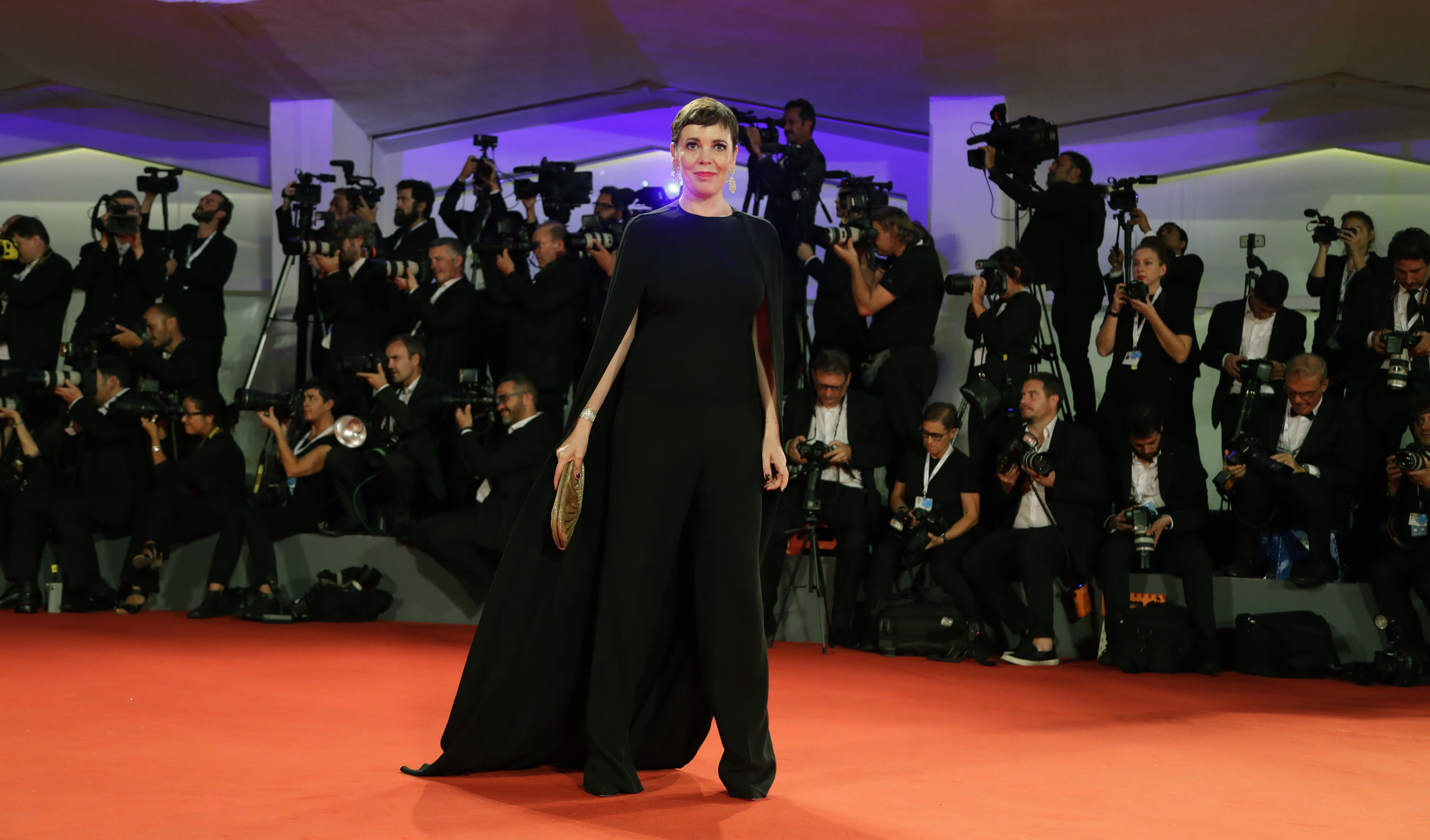 Actress Olivia Colman poses for photographers upon arrival at the premiere of the film 'The Favourite' at the 75th edition of the Venice Film Festival in Venice, Italy, Thursday, Aug. 30 , 2018. (AP Photo/Kirsty Wigglesworth)