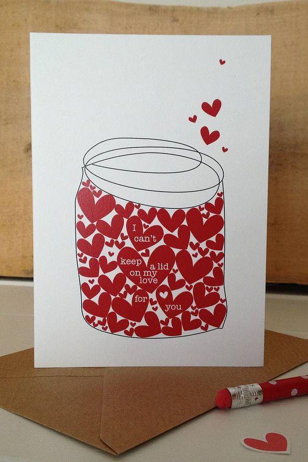"""<p>If you have a friend who loves mason jars, we guarantee that he or she will cherish this adorable card. <br></p><p><a class=""""link rapid-noclick-resp"""" href=""""https://go.redirectingat.com?id=74968X1596630&url=https%3A%2F%2Fwww.notonthehighstreet.com%2Fhalfpinthome%2Fproduct%2Fjar-of-hearts-valentine-s-day-card&sref=https%3A%2F%2Fwww.countryliving.com%2Fdiy-crafts%2Fg93%2Fvalentines-day-mason-jars%2F"""" rel=""""nofollow noopener"""" target=""""_blank"""" data-ylk=""""slk:SHOP CARDS"""">SHOP CARDS</a><br></p>"""