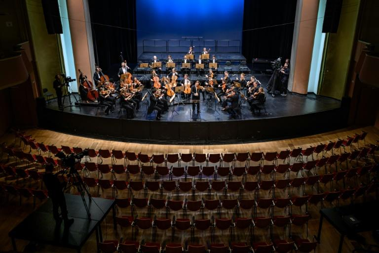 Concerts, such as this one by the Lausanne Chamber Orchestra, were played behind closed doors but relayed by Swiss public broadcaster RTS