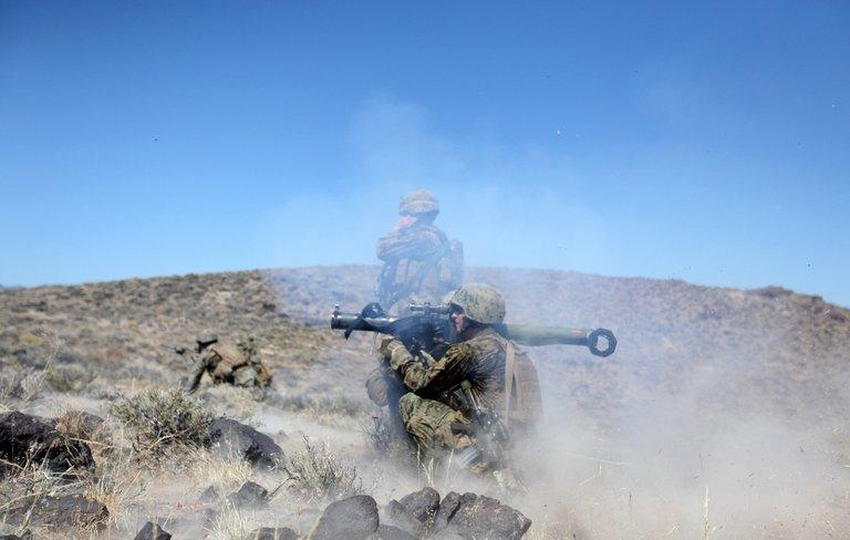 This image provided by US Marine Corps, shows Marines training at Hawthorne Army Depot in Nevada on July 25, 2010