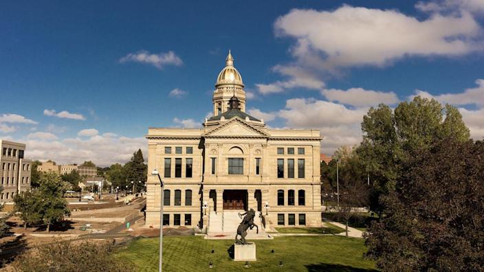 """<p><strong>Established in:</strong> 1867</p><p>The first residents of <a href=""""https://www.cheyenne.org/info/about-cheyenne/cheyenne-info/"""" rel=""""nofollow noopener"""" target=""""_blank"""" data-ylk=""""slk:Cheyenne"""" class=""""link rapid-noclick-resp"""">Cheyenne</a> were men who came west to work on the Union Pacific Railroad, and by 186 9, it was thriving. The name means """"aliens"""" or """"people of foreign language.""""</p>"""