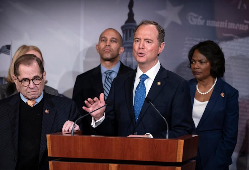 Lead House impeachment manager Adam Schiff, D-Calif., speaks to reporters on Saturday.