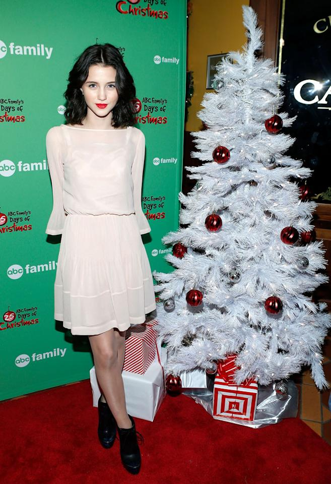 "Actress Julia Goldani Telles attends ABC Family's ""25 Days Of Christmas"" Winter Wonderland Event at Rockefeller Center on December 2, 2012 in New York City."