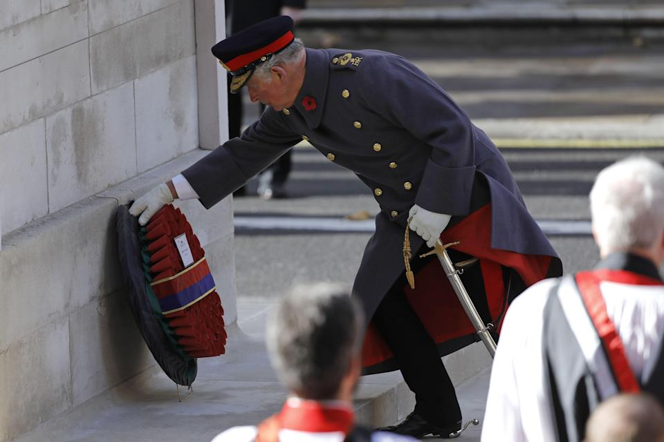 The Prince of Wales lays a wreath on behalf of the Queen at the Cenotaph on Remembrance Sunday (Getty)