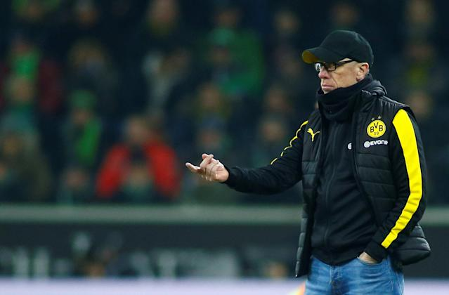 Soccer Football - Bundesliga - Borussia Moenchengladbach vs Borussia Dortmund - Borussia-Park, Moenchengladbach, Germany - February 18, 2018 Borussia Dortmund coach Peter Stoeger REUTERS/Thilo Schmuelgen DFL RULES TO LIMIT THE ONLINE USAGE DURING MATCH TIME TO 15 PICTURES PER GAME. IMAGE SEQUENCES TO SIMULATE VIDEO IS NOT ALLOWED AT ANY TIME. FOR FURTHER QUERIES PLEASE CONTACT DFL DIRECTLY AT + 49 69 650050