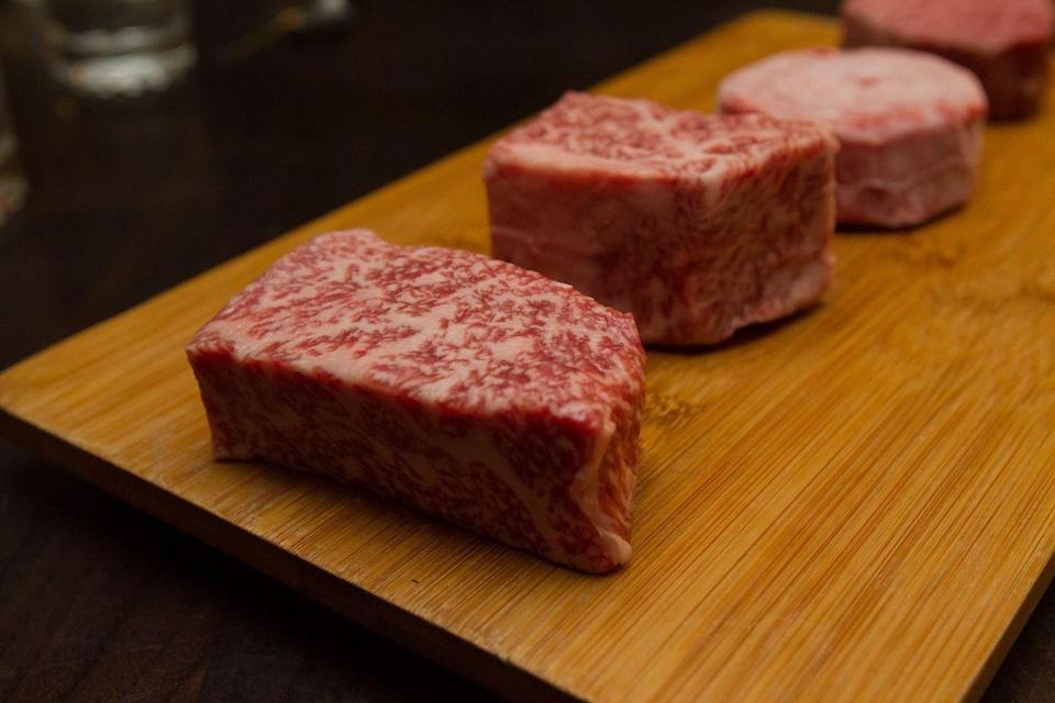 "<p>Sample an assortment of the most superior pieces of beef with the A5 experience at <a href=""https://www.tripadvisor.com/Restaurant_Review-g60713-d1443216-Reviews-5A5_Steak_Lounge-San_Francisco_California.html"" rel=""nofollow noopener"" target=""_blank"" data-ylk=""slk:A5A Steakhouse"" class=""link rapid-noclick-resp"">A5A Steakhouse</a>. The meat-heavy adventure includes four ounces of A5 New York strip, filet, ribeye, and ribcap. The entire production will only set you back a cool $665, so you can pay rent or enjoy the A5 experience.</p>"