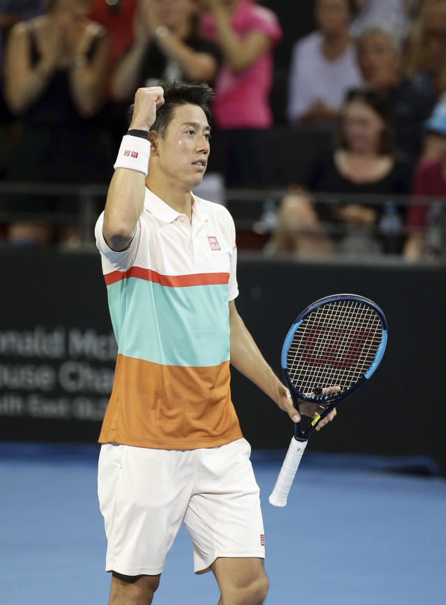 Kei Nishikori of Japan reacts after winning his quarterfinal match against Grigor Dimitrov of Bulgaria, at the Brisbane International tennis tournament in Brisbane, Australia, Thursday, Jan. 3, 2019. (AP Photo/Tertius Pickard)