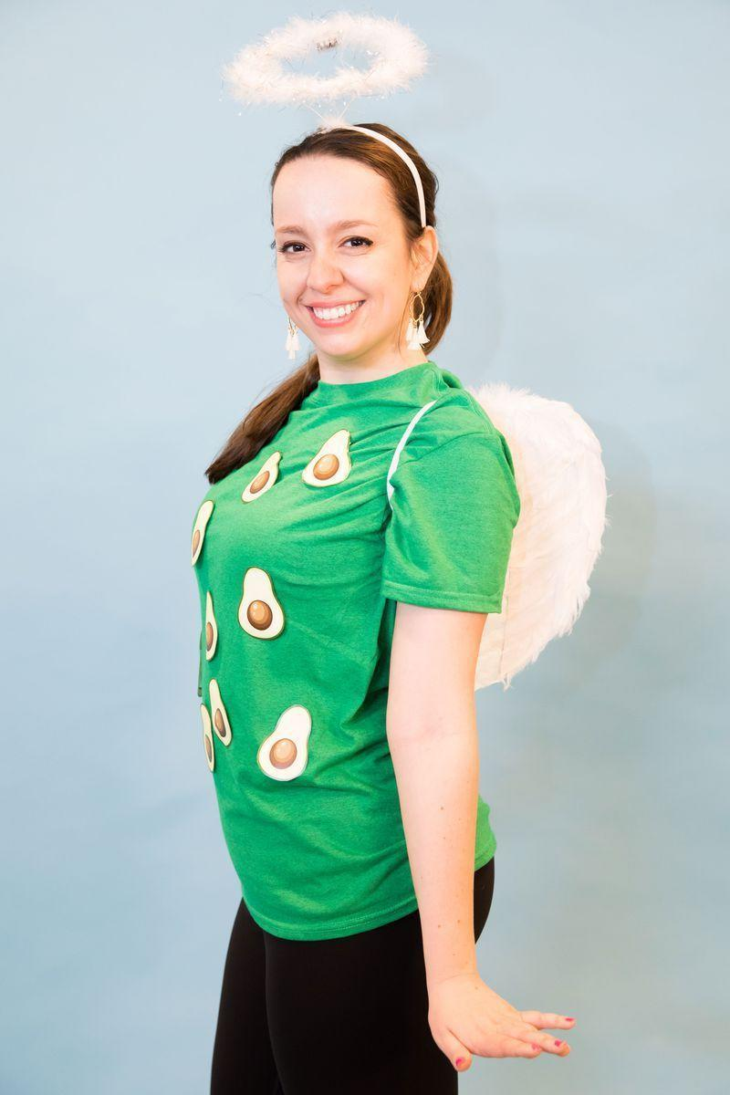"""<p>For all those who splurge for extra guac every time, this costume's for you. Just print out avocado illustrations you find online and paste them to a green shirt. Add angel wings and a halo to complete the look. </p><p><a class=""""link rapid-noclick-resp"""" href=""""https://www.amazon.com/Feather-Christmas-Halloween-Costume-4535CM/dp/B076CFMR7T/?tag=syn-yahoo-20&ascsubtag=%5Bartid%7C10070.g.490%5Bsrc%7Cyahoo-us"""" rel=""""nofollow noopener"""" target=""""_blank"""" data-ylk=""""slk:SHOP ANGEL WINGS"""">SHOP ANGEL WINGS</a> </p>"""
