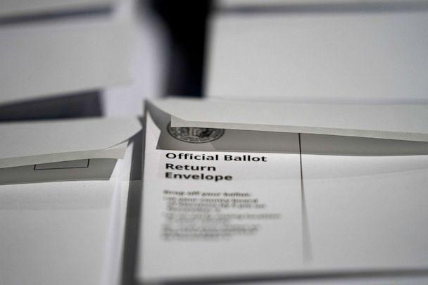 PHOTO: Stacks of ballot envelopes waiting to be mailed are seen at the Wake County Board of Elections in Raleigh, N.C., Sept. 3, 2020. (Gerry Broome/AP)
