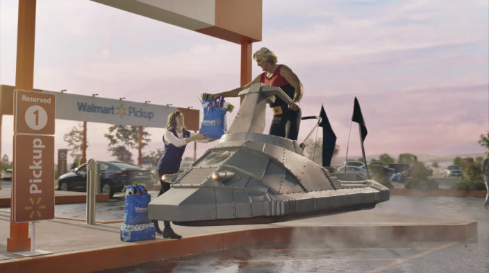 This undated image provided by Walmart shows a scene from the company's 2020 Super Bowl NFL football spot. (Walmart via AP)
